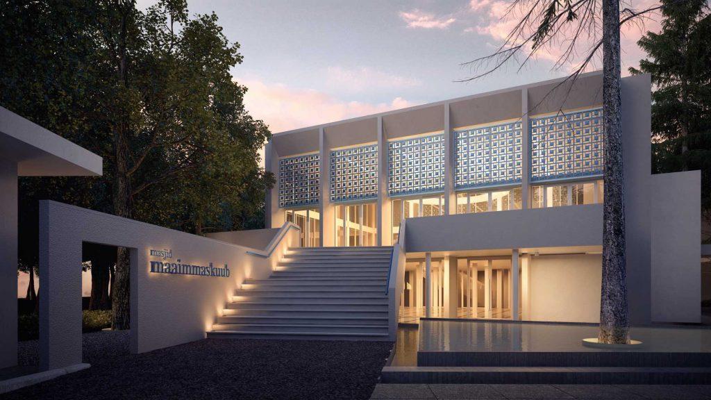 Photo Front View Maaimmaskuub Mosque Desain Arsitek Oleh Eki Achmad Rujai